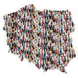 Inmigración multicultural de la integración del grupo de personas del mapa de Polonia foto de archivo
