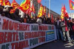 Inmigrantes de la demostración y de las protestas imagen de archivo libre de regalías