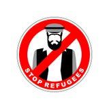 Inmigrantes de la prohibición Pare al refugiado Carácter de prohibición rojo M sirio stock de ilustración
