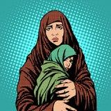 Inmigrantes de los extranjeros de los refugiados de la madre y del niño stock de ilustración