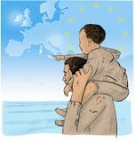 Inmigrantes del padre y del hijo stock de ilustración