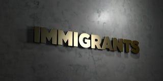 Inmigrantes - texto del oro en fondo negro - imagen común libre rendida 3D de los derechos stock de ilustración