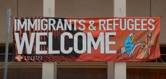 Inmigrantes y recepción de los refugiados Imagen de archivo