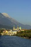 Inn-bridge. Innsbruck in autumn with the river Inn in the foreground Stock Photos