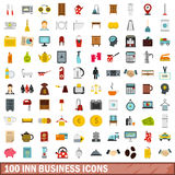 100 inn business icons set, flat style Stock Photography
