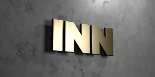 Inn - Gold sign mounted on glossy marble wall  - 3D rendered royalty free stock illustration Stock Photography