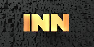 Inn - Gold text on black background - 3D rendered royalty free stock picture Royalty Free Stock Photo