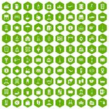 100 inn icons hexagon green Royalty Free Stock Photo