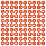 100 inn icons hexagon orange. 100 inn icons set in orange hexagon isolated vector illustration Royalty Free Stock Images