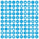 100 inn icons set blue. 100 inn icons set in blue hexagon isolated vector illustration Stock Photography