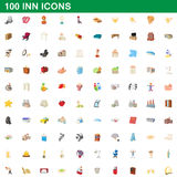 100 inn icons set, cartoon style. 100 inn icons set in cartoon style for any design vector illustration Royalty Free Stock Photography