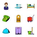 Inn icons set, cartoon style Stock Image