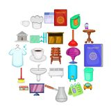 Inn icons set, cartoon style. Inn icons set. Cartoon set of 25 inn vector icons for web isolated on white background Stock Images