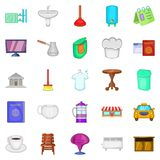 Inn icons set, cartoon style. Inn icons set. Cartoon set of 25 inn vector icons for web isolated on white background Royalty Free Stock Image