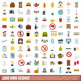 100 inn icons set, flat style Royalty Free Stock Image