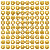 100 inn icons set gold. 100 inn icons set in gold circle isolated on white vectr illustration Stock Images