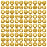 100 inn icons set gold. 100 inn icons set in gold circle isolated on white vectr illustration Vector Illustration