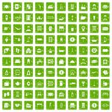 100 inn icons set grunge green. 100 inn icons set in grunge style green color isolated on white background vector illustration Stock Photo