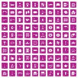 100 inn icons set grunge pink. 100 inn icons set in grunge style pink color isolated on white background vector illustration Royalty Free Stock Photos