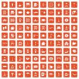 100 inn icons set grunge orange. 100 inn icons set in grunge style orange color isolated on white background vector illustration Stock Photos