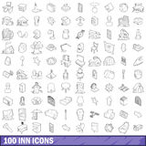 100 inn icons set, outline style. 100 inn icons set in outline style for any design vector illustration Stock Photo