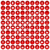100 inn icons set red. 100 inn icons set in red circle isolated on white vectr illustration Royalty Free Stock Image