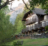 Inn at Lake MacDonald in Glacier near sunset. This is an image of the lovely inn at Lake MacDonald in Glacier National Park near sunset Stock Photos