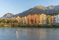Inn river on its way through Innsbruck, Austria. INNSBRUCK, AUSTRIA - AUG 16: Inn river, a 517 kilometres long tributary of the Danube on its way through the Royalty Free Stock Photography
