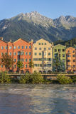 Inn river on its way through Innsbruck, Austria. Stock Photography