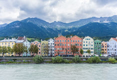 Inn river on its way through Innsbruck, Austria. INNSBRUCK, AUSTRIA - AUG 14: Inn river, a 517 kilometres long tributary of the Danube on its way through the Stock Photos
