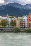 Inn river on its way through Innsbruck, Austria. INNSBRUCK, AUSTRIA - AUG 14: Inn river, a 517 kilometres long tributary of the Danube on its way through the Stock Photography