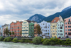 Inn river on its way through Innsbruck, Austria. INNSBRUCK, AUSTRIA - AUG 14: Inn river, a 517 kilometres long tributary of the Danube on its way through the Royalty Free Stock Photo
