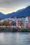 Inn river on its way through Innsbruck, Austria. INNSBRUCK, AUSTRIA - AUG 15: Inn river, a 517 kilometres long tributary of the Danube on its way through the Stock Photos