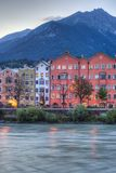 Inn river on its way through Innsbruck, Austria. INNSBRUCK, AUSTRIA - AUG 15: Inn river, a 517 kilometres long tributary of the Danube on its way through the Royalty Free Stock Photo
