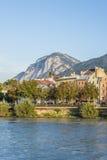 Inn river on its way through Innsbruck, Austria. Stock Image