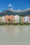 Inn river on its way through Innsbruck, Austria. INNSBRUCK, AUSTRIA - AUG 16: Inn river, a 517 kilometres long tributary of the Danube on its way through the Royalty Free Stock Images