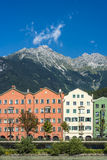 Inn river on its way through Innsbruck, Austria. Royalty Free Stock Photos