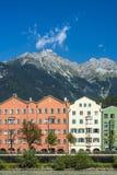 Inn river on its way through Innsbruck, Austria. Royalty Free Stock Photos