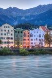 Inn river on its way through Innsbruck, Austria. Stock Photography