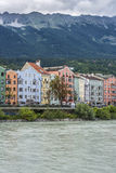 Inn river on its way through Innsbruck, Austria. INNSBRUCK, AUSTRIA - AUG 14: Inn river, a 517 kilometres long tributary of the Danube on its way through the Royalty Free Stock Photography