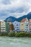 Inn river on its way through Innsbruck, Austria. INNSBRUCK, AUSTRIA - AUG 14: Inn river, a 517 kilometres long tributary of the Danube on its way through the Stock Photo