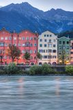 Inn river on its way through Innsbruck, Austria. INNSBRUCK, AUSTRIA - AUG 15: Inn river, a 517 kilometres long tributary of the Danube on its way through the Stock Photography