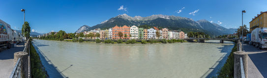 Inn river on its way through Innsbruck, Austria. Royalty Free Stock Photography