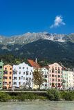 Inn river on its way through Innsbruck, Austria. INNSBRUCK, AUSTRIA - AUG 16: Inn river, a 517 kilometres long tributary of the Danube on its way through the Stock Photos