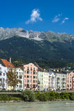 Inn river on its way through Innsbruck, Austria. INNSBRUCK, AUSTRIA - AUG 16: Inn river, a 517 kilometres long tributary of the Danube on its way through the Royalty Free Stock Photos