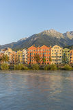 Inn river on its way through Innsbruck, Austria. Stock Photo