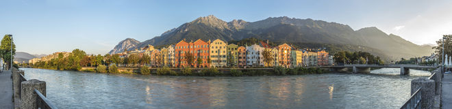 Inn river on its way through Innsbruck, Austria. Royalty Free Stock Image