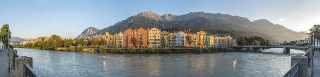 Inn river on its way through Innsbruck, Austria. Inn river, a 517 kilometres long tributary of the Danube on its way through Innsbruck, Upper Austria Royalty Free Stock Image