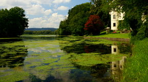 Inn River Landscape. Hagenau Palace, Austria, is located on a branch of the Inn River near Braunau royalty free stock image