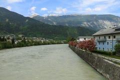 Inn river in Tyrolien town Schwaz, Austria. Inn river in small Tyrolien town Schwaz, Austria royalty free stock photos